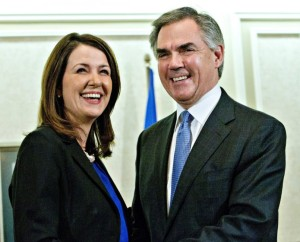 Alberta Premier Jim Prentice and former Wildrose Leader Danielle Smith
