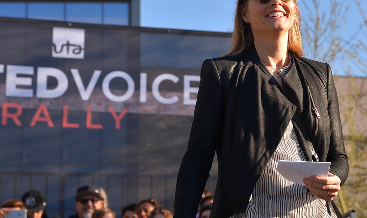 """Jodie Foster, who is an actress/director and film maker, speaks to a crowd gathered infront of United Talent Agency.  Instead of its traditional Academy Awards party, UTA hosted a rally at its headquarters Friday afternoon of Oscar weekend.  The gathering – """"United Voices"""" – aimed to express the creative community's support for freedom of speech and artistic expression, and stand against policies of exclusion and division. Beverly Hills, CA 2/24/2017. Photo by John McCoy/Los Angeles Daily News (SCNG)"""