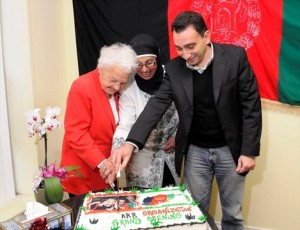 Mayor Hazel McCallion cuts the cake with ARR President Sakia Mojadiddi and Omar Alghabra, a former Liberal MP Mississauga Erindale. - Photo by Peter C. McCusker