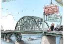 US -Canada peace bridge new signs by Trump – Cartoon تابلوی جدید پل صلح روی کانادا -امریکا توسط ترامپ