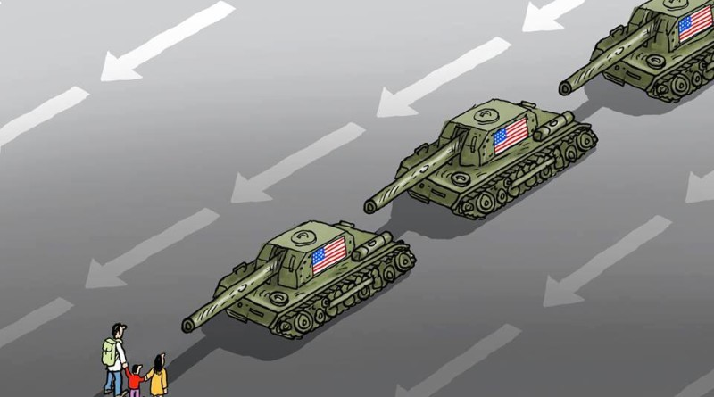 trump tank invason cartoon
